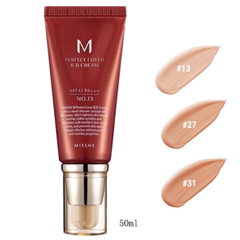 Best Korea Cosmetics MISSHA M Perfect Cover BB Cream 50ml SPF42 PA+++ (NO.13 NO.27 NO.31) Foundation Makeup Perfect BB Cream