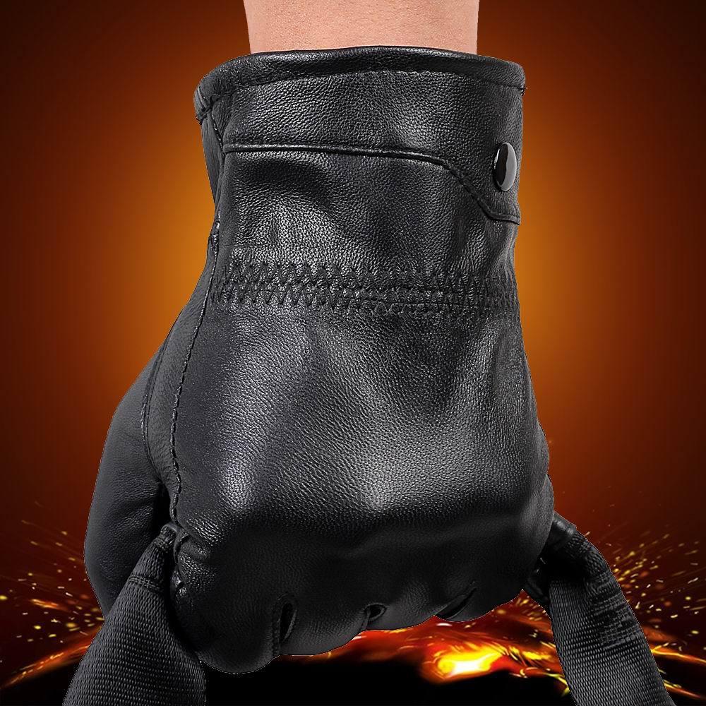Mens velvet gloves - Mens Fashion Winter Warm Thick Leather Gloves Genuine Sheepskin Gloves Driving Ride Gloves Mittens