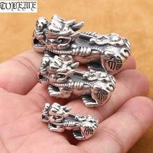 925 серебряные бусины Pixiu, настоящее чистое серебро, бусины Fengshui Pixiu, богатые бусины Piyao, удача для богатства, DIY браслет