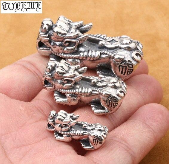 100% 925 Contas de Prata Contas de Prata Puro Real Sorte Fengshui Pixiu Pixiu Riqueza Piyao Beads Boa Sorte para a Riqueza DIY pulseira