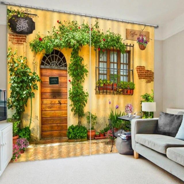 Moderní luxusní Kavárna 3D Záclony do Ložnice Obývací pokoj Hotel Kancelář Drape Cortinas Tapestry Wall Dekorativní