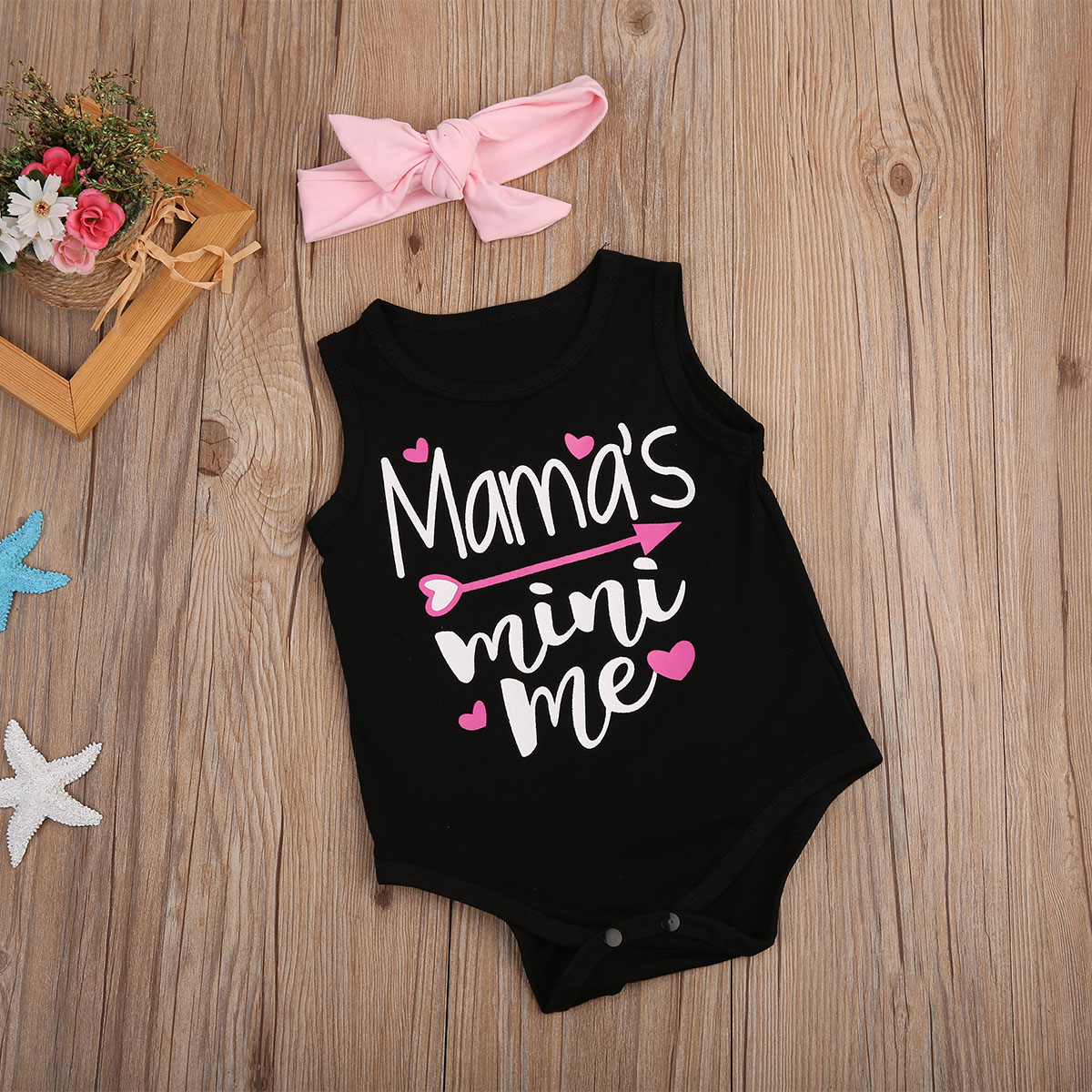 Newborn Baby Girl Clothes Sleeveless Letters Romper Jumpsuit Headband 2pcs Sunsuit Outfits Summer Infant Children Clothing 3