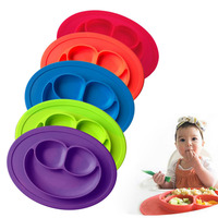3 Grids Silicone Toddler Baby Diner Portable Dish Bowl Plates Tray For Children Training Plate Baby