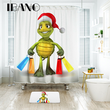 цена на IBANO Tortoise Shower Curtain Waterproof Polyester Fabric Bath Curtain For The Bathroom Decrotation For The Christmas Festival
