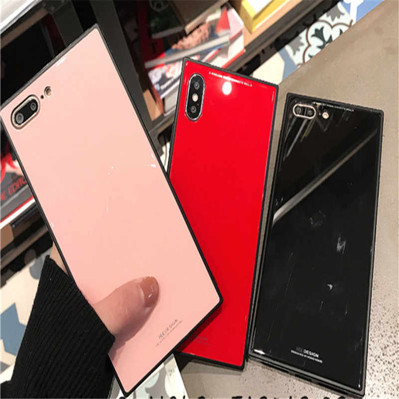 Lxuruy مرآة سيليكون حافة مربع الخلفي واقية الهاتف حقيبة لهاتف أي فون X XS ماكس XR 6 6 s 7 8 زائد إطار زجاجي قوي للهاتف المحمول
