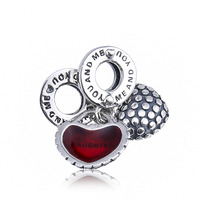 DIY Jewelry Making Fit Pandora Bracelet Bangle Piece Of My Heart Daughter Red Enamel Bead Charms