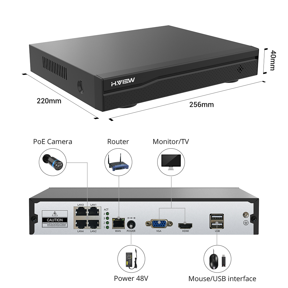 Image 3 - H.VIEW 4ch 1080p CCTV Camera System PoE H.265 CCTV Camera System 2mp Surveillance Kit PoE 48V Surveillance Kit Full HD-in Surveillance System from Security & Protection