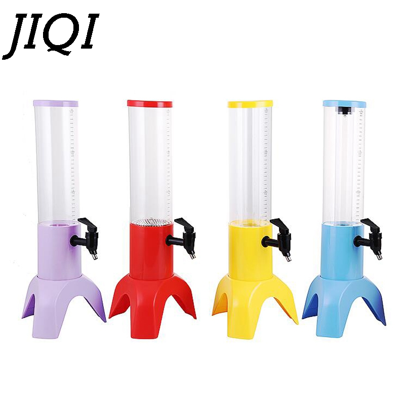 JIQI Slush Drinks Machine Ice Beverage Fruit Juice Separator Commercial Party Milk Tea Beer Soda Drink Dispenser Container 1.5L