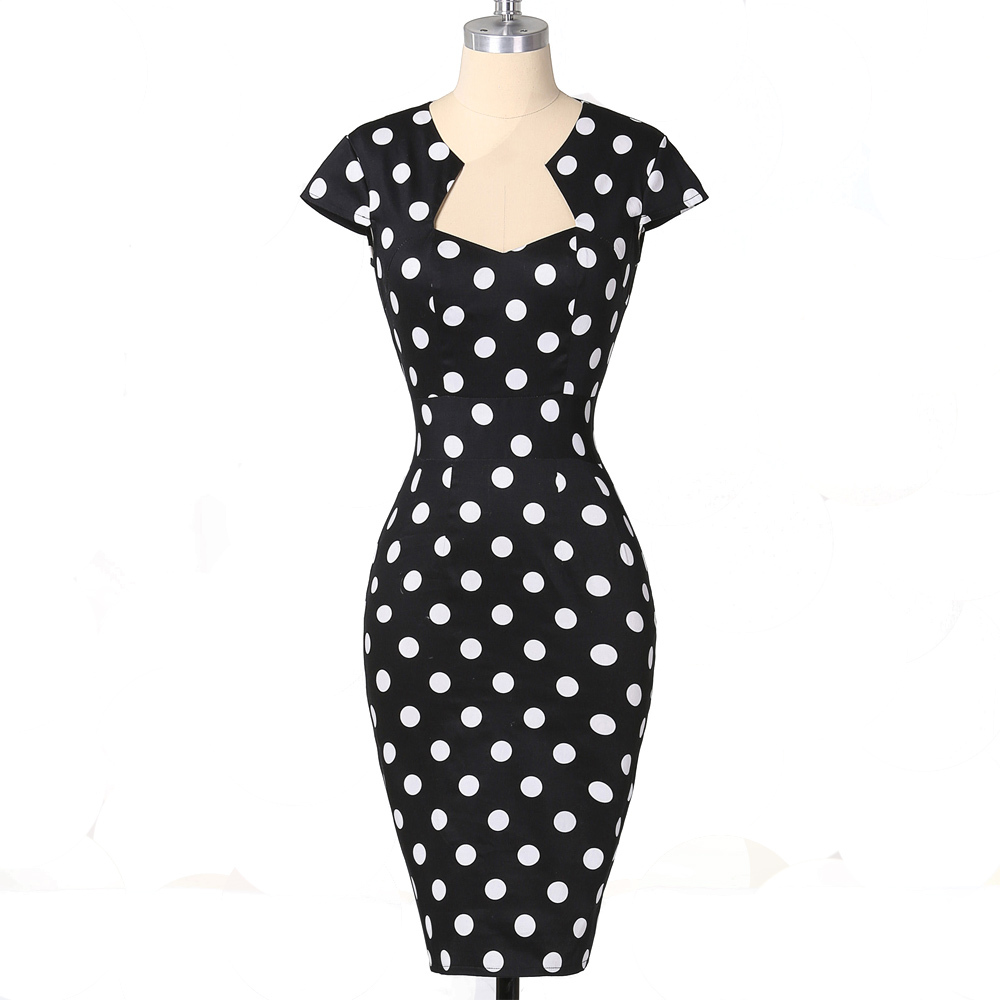 Women Dress Summer Polka Dot Vintage 50s Dresses Robe Rockabilly Clothing Vestidos Bodycon Pencil Wiggle Sexy Party Office Dress