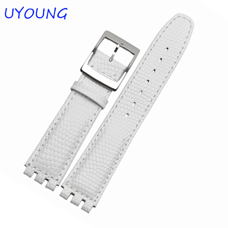 High Quality Waterproof Genuine Leather Watch Band 17mm Croco Pattern Black Brown White Strap For Swatch high quality 17mm 19mm 23mm waterproof genuine leather watch strap band for swatch croco pattern black brown white