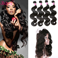 7A Brazilian Virgin Hair 360 Lace Frontal With Bundle Body Wave With Closure 4 Bundles With Pre Plucked 360 frontal Human Hair