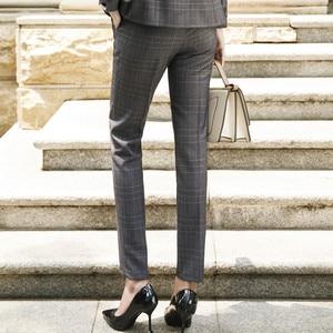 Image 4 - Naviu New Fashion Women Winter Pants Work Business Office Ladies Plus Size Slim Plaid Trousers