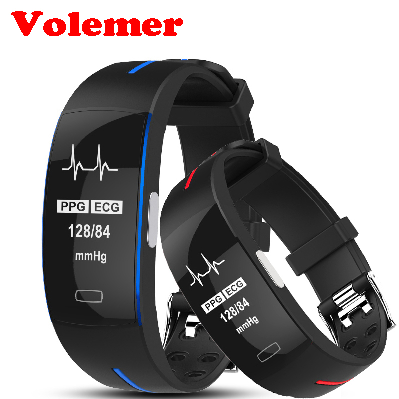 Volemer P3 ECG+PPG Blood Pressure Heart rate Monitoring Smart Band Pulsometer Smart Wristband Sport Fitness Smart Bracelet fentorn p3 smart band support ecg ppg blood pressure heart rate monitoring ip67 waterpoof pedometer sports fitness bracelet