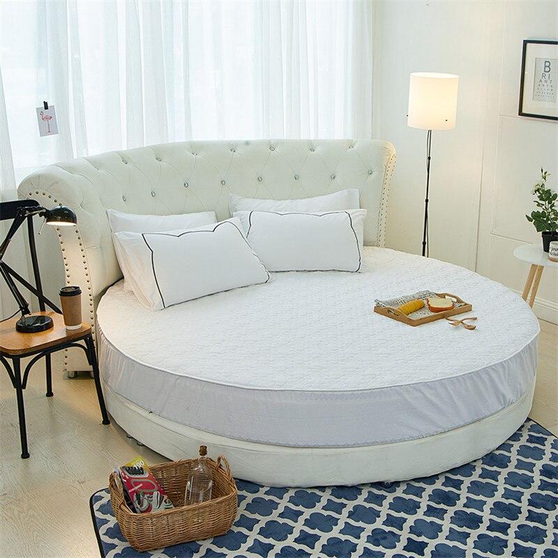 Ev ve Bahçe'ten Yatak Kılıfları ve Tutucular'de Yuvarlak kapitone yatak koruyucu % 100% pamuklu çarşaf romantik yuvarlak yatak çarşafı tema otel düğün yatak'da  Grup 2