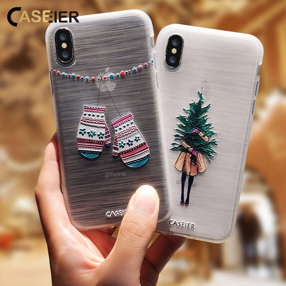 CASEIER Girly Christmas Phone Case For iPhone 5 SE 6 6S 7 8 Plus X Cute Emboss Soft TPU Covers For iPhone X XS Max XR 5S 7 Plus