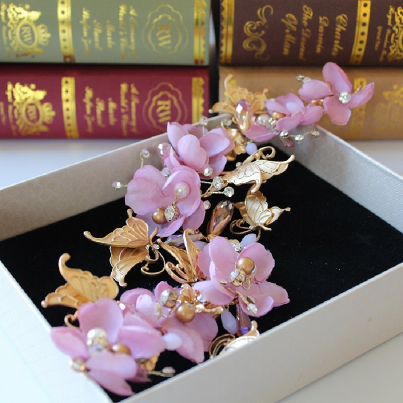 clearance high end gold butterfly pink flower bride clump sweet - Fashion Jewelry - Photo 2