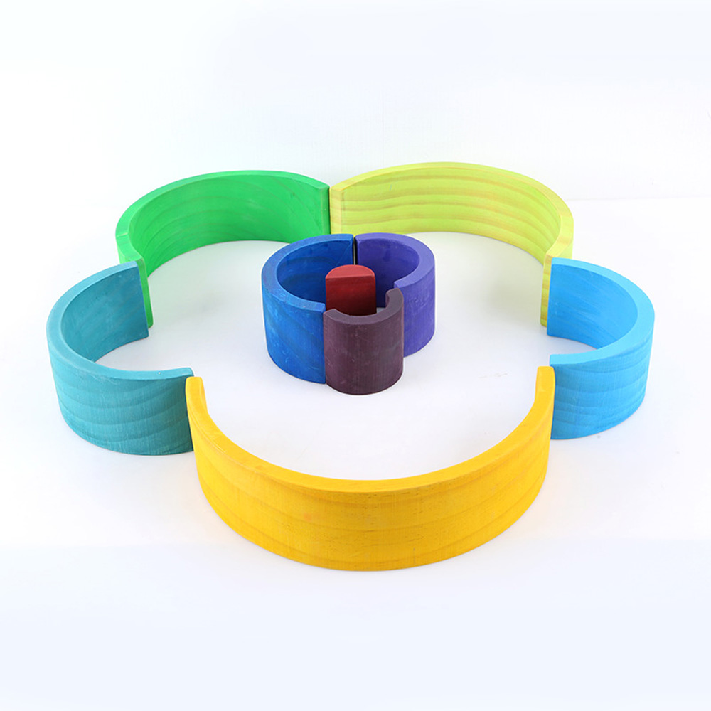 DROPSHIPPIN 12Pcs wooden rainbow blocks wooden building blocks For Kid Rainbow Building Blocks Montessori educational wooden toy