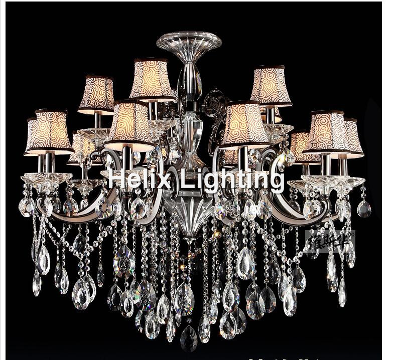 Newly Modern Silver Clear Crystal Pendant Lamp Ceiling Lamp Chandelier Dining Room Lighting 15L D100cm H70cm AC 100% Guaranteed vallkin modern chandelier new hot sale luxury clear crystal lighting ceiling lamp fixtures for indoor dining room stairs hallway