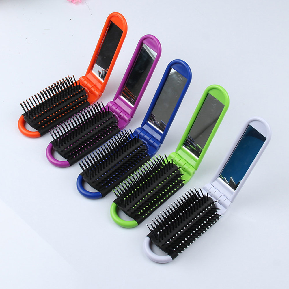 Professional Makeup Comb Travel Hair Comb Cute Cartoon Folding Hair Brush Portable With Mirror Compact Pocket Anti-static Comb