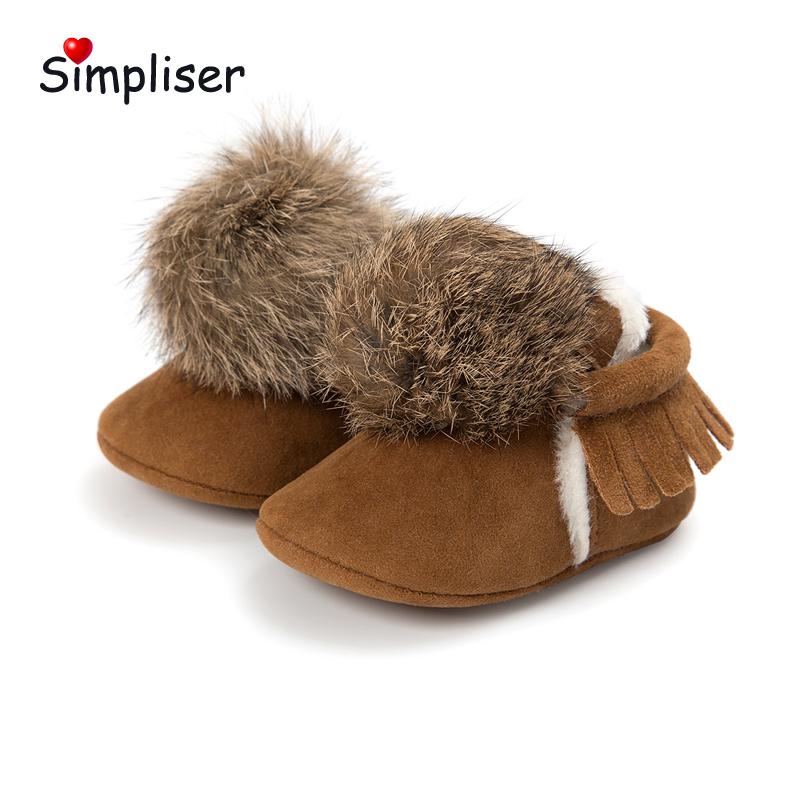 Warm Plush Boots For newborn Baby Girls Boys 2018 Winter Crib Boot Walking Shoes Fur Ball Infantil Botas Pink Outdoor Footwear