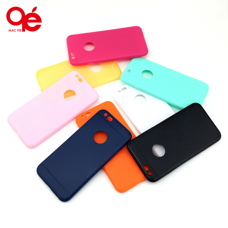Soft Solid Macaron Color Protective Back Silicone Gel Rubber Logo Blank Case Cover for iPhone 5 5s SE 6 6s Plus