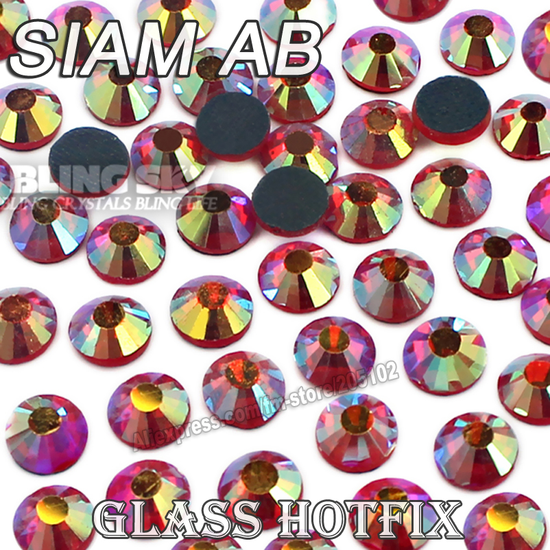 Siam AB BIG PACKAGE Hot Fix Rhinestones SS6 SS10 SS16 SS20 SS30 DMC Flat Back Crystals