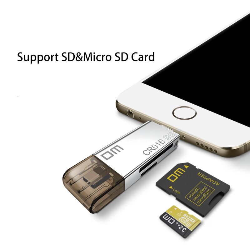 Image 3 - DM CR016 Lightning Micro SD/TF OTG Card Reader USB 3.0 Memory Mini Cardreader for iPhone 6/7/8 Plus iPod iPad OTG Card Reader-in Card Readers from Computer & Office