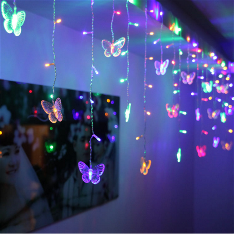 Connectable 4M Led Curtain Butterfly Icicle String Lights Led Fairy Lights Christmas Lamps Icicle Light Wedding Party Decoration