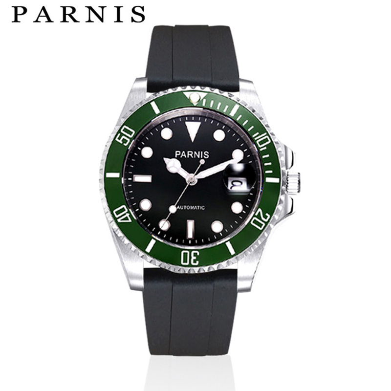 Mens Mechanical Watch Watch 40mm Parnis Automatic Watch Men Black Rubber Strap Stainless Steel Auto Date Sapphire CrystalMens Mechanical Watch Watch 40mm Parnis Automatic Watch Men Black Rubber Strap Stainless Steel Auto Date Sapphire Crystal