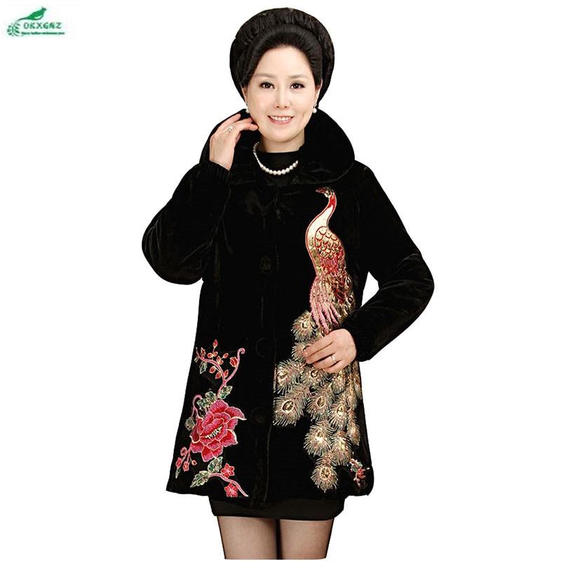 Middle-aged women winter cotton Outerwear new fashion Plus size 4XL coat female autumn mother fitted gold velvet coat OKXGNZ