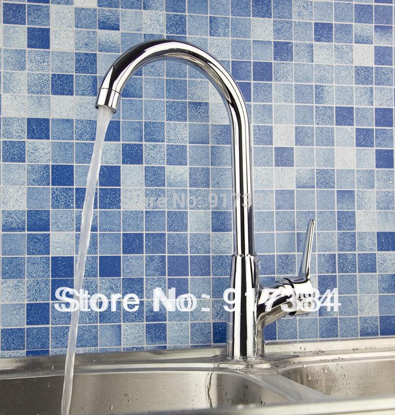 Single Hole Kitchen Basin & Sink Faucet Polished Chrome Brass Mixer Tap Faucet JN92309 antique high end kitchen sink faucet single hole brass kitchen sink mixer tap