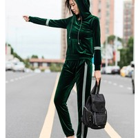 Velvet Tracksuit Suit Women S New Large Size Long Sleeve Velvet Suits Female Fashion Leisure Plus
