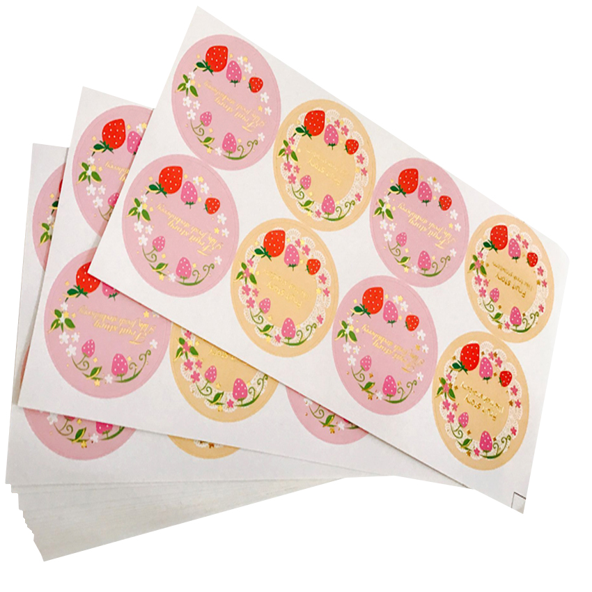 80pcs/lot Fresh Fruit Strawberry Garland Seal Sticker Label Adhesive Seal Sticker Round DIY Baking Gift Label Stickers