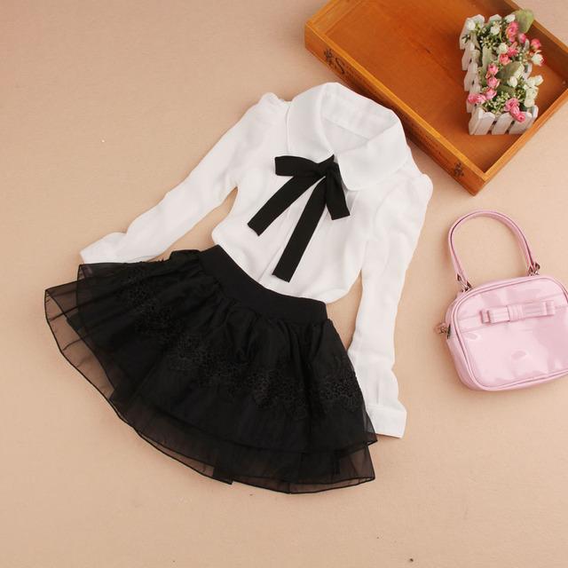 New  Blouses For Girls Bow -tie  Girl White Blouse Full Sleeve Blusas Nina  Girls Blouse  6BL104
