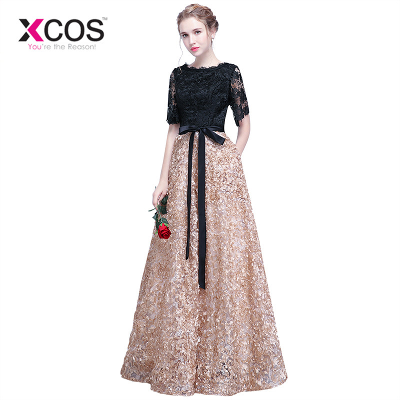 XCOS Floor Length Prom Dresses Long Vintage A Line O Neck Half ...