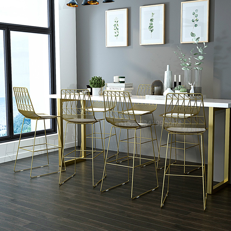 Bar-Stool Cafe-Chair Nordic Iron Modern With Back Simplicity Gold 75cm Sitting Height