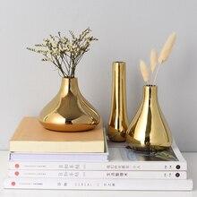 Скандинавском стиле Золотая керамическая ваза сухой цветок аранжировщик воды посадки контейнер настольная декоративная ваза