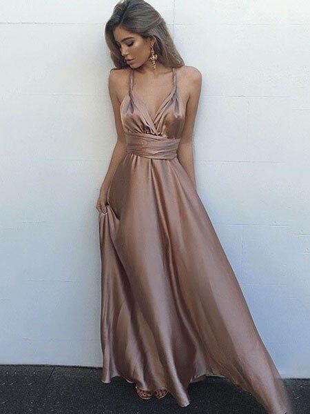 Vestido de festa Silk-Like Satin Sexy   Prom     Dresses   V-Neck Long Gala   Dress   Simple Formal   Dress   Women