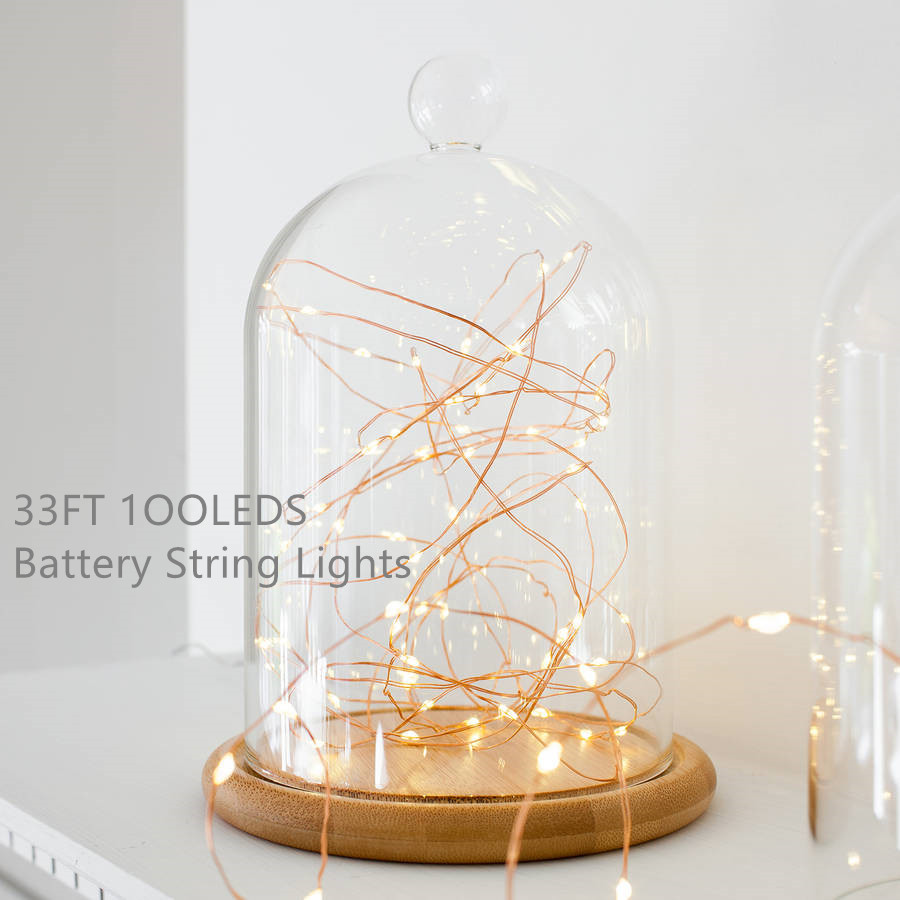 33ft 100 LEDs Battery Copper Wire String Fairy Lights Micro Party Lighting Garland For Home Christmas Wedding Events Decoration