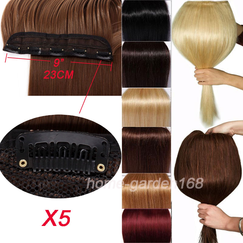 Long Women Lady Clip In On Hair Extension Half Full Head Real Thick