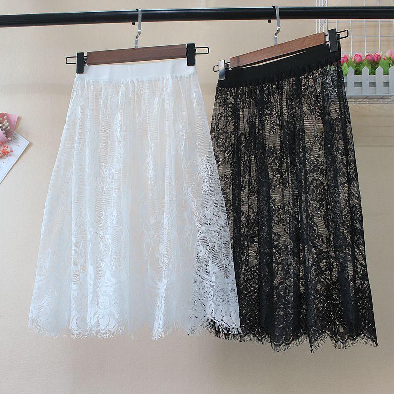 Lace Skirts Short Mesh A-Line Transparent Elegant Black Hollow-Out Winter Women Autumn