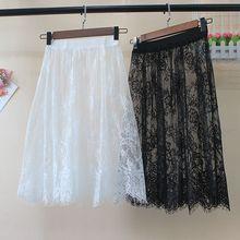 Women Autumn Winter Lace Skirts Casual Elegant Mesh Transparent Hollow Out short A Line Black White Skirt Overskirt Underskirt