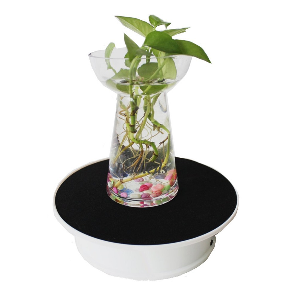 """Image 5 - New Top 8"""" Black velvet electric Rotating Display Stand Photography, video shooting props Turntable Battery  powerbase standturntable desksbase shaper -"""