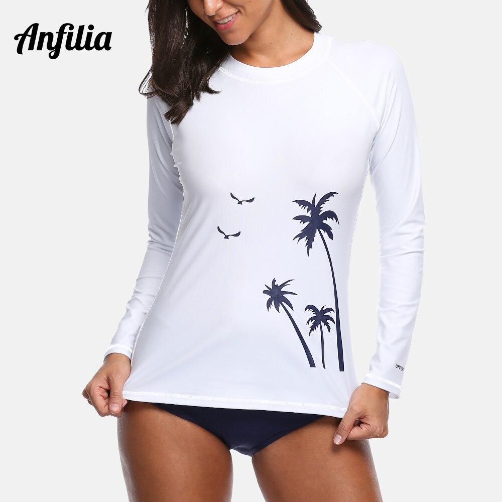 Anfilia Ladies Long Sleeve Rashguard Top Women Swimwear Surfing Swimsuit Running Shirt Hiking Shirts Rash Guard UPF50+