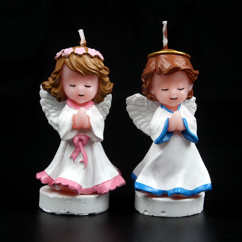 New 2 pcs Angel Birthday Candles Flickering Tea Light Flicker Paraffin Light Party Wedding Candels Safety Home Decoration Gift