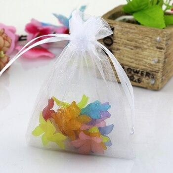 100pcs//lot 9x12cm White Organza Bags Christmas Gift Bag Wedding Voile Charms..