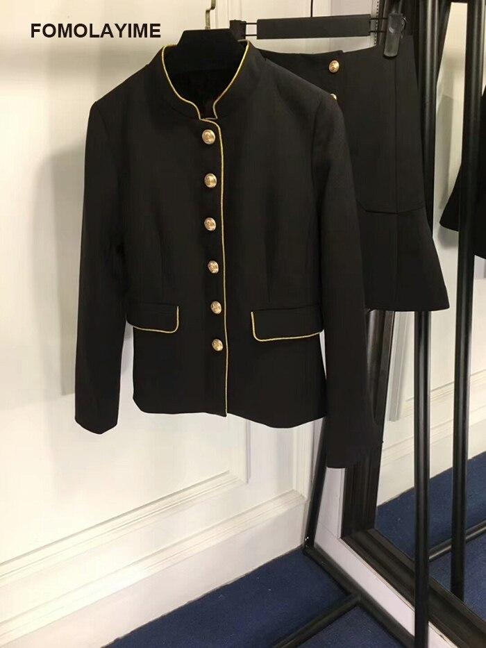 FOMOLAYIME взлетно посадочной полосы наборы Для женщин 2018 Высокая мода в европейском стиле осенняя куртка пальто и юбки комплект