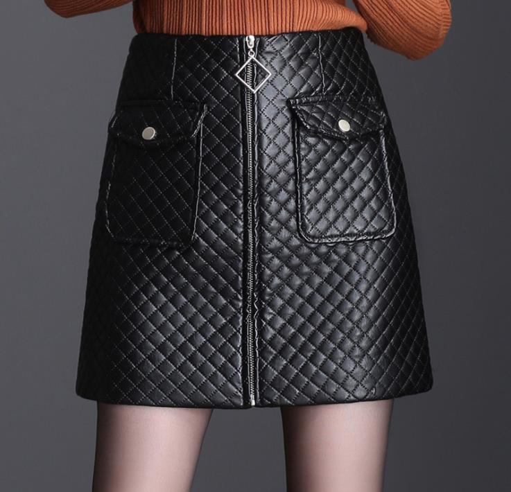 Women's 2018 autumn and winter new black PU leather skirt high waist loose pu leather professional slim bag hip skirt