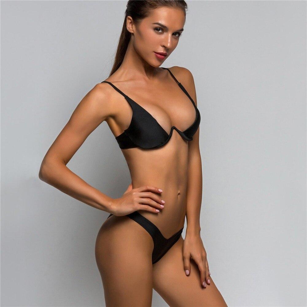 HTB1ulycg8jTBKNjSZFuq6z0HFXa6 Sexy V-bar Underwired Bikini 2019 Female Swimsuit Women Swimwear Two-piece V shape Wire Bikini set Bather Bathing Suit Swim V439