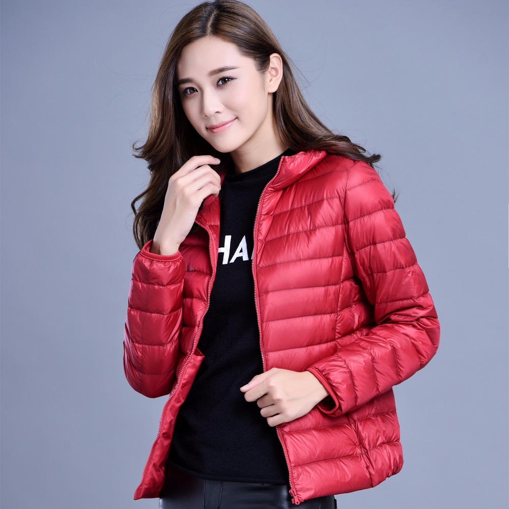 2017 Women Hooded Jackets&Coat Many Colors Plus Size Slim Down Top Coat Short Long Sleeves Outwear Zipper Thin Clothing MY0052